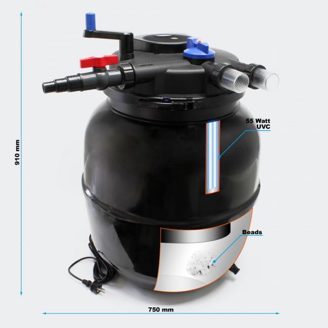Напорный фильтр для пруда CPF-50000 УФ 55 Вт